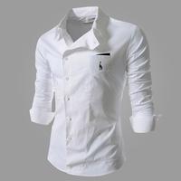 2014 New Autumn New Long Sleeve Casual Shirts Men Brand Fashion Shirt Plus Size 3XL Oblique Buckle Shirts Men,Drop&Free Shipping