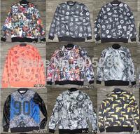 men sportswear leather sleeve hip hop sweatshirt fleece HBA 1991 INC FNTY  FLYING NINETY autumn winter man hoody streetwear