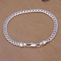 2014 New Arrivel Free Shipping Silver plated Cuff Chain Charm 5M sideways Bracelet Jewelry Bracelet SMTH199