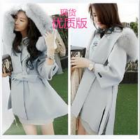 The Korea  autumn and winter large fur collar coat girls long capes Korean wool coat
