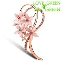 2014 new arrival high quality  fashion brand women accessories 18KGP cat eye stone  rhinestones flower Brooch Clip jewelry 5378