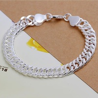 2014 New Arrivel Free Shipping Silver plated Cuff Chain Charm 10M whole side Bracelet Jewelry Bracelet SMTH102