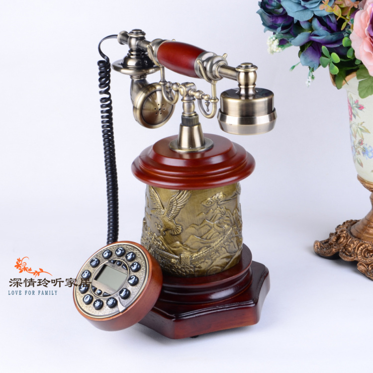 Free shippingNew European-style wood shipping fashion retro telephone with speakerphone blue creative antique telephones(China (Mainland))