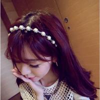 Delicate and elegant pearl rhinestone handmade hair band hair bands hair accessory female accessories spring