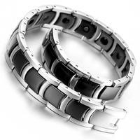 "Tungsten Magnetic Hematite Mens Bracelet 8.2"" B1372"