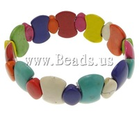 Free shipping!!!Fashion Turquoise Bracelets,Luxury, with Elastic Thread, multi-colored, 13x20x6mm, 9x13x5mm