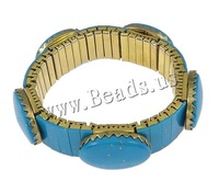 Free shipping!!!Fashion Turquoise Bracelets,New Year Gift, with Brass, gold color plated, nickel, lead & cadmium free, 16x6mm