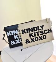 New arrival 2014 fashion personality letter brief bag small bag one shoulder cross-body women's handbag envelope bag