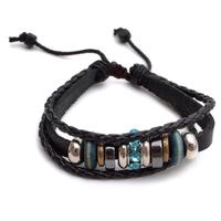 Tribal Leather Wristband Surf  Mens Bracelet B605