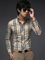 Free Shipping 2014 New Fashion Casual Grid long-sleeved mens shirts, Fashion Leisure styles lim fit dress shirt