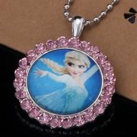 Frozen Kid Children Elsa Princess Cartoon Crystal Pendant Necklace Sparkling Cubic Zircon Paved Christmas Gift