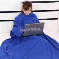 2014 New HE Practical Supper Home Fleece Blanket Winter Warm Blanket with Sleeves Nice Gift EH