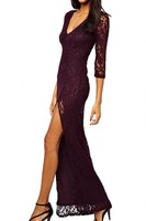 Evening Dress Vestidos Sexy Women Lace Plunging V Slit Side Long Dress  Free Shipping