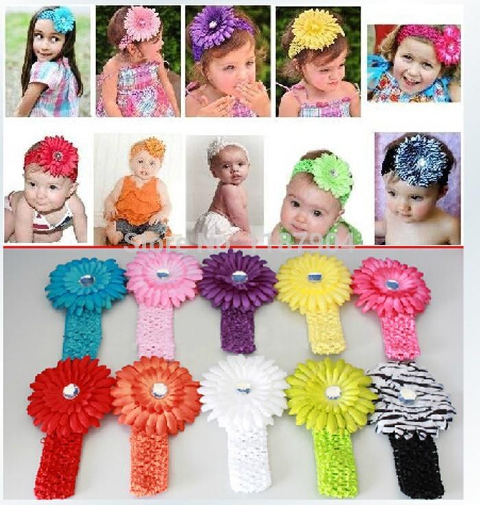 Hot Sale infant baby children gerbera daisy Flower Headband Baby Girls crochet headband Hair Accessiries 100pcs/lot(China (Mainland))