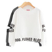 2014 Women Korea Fashion Hollow Out Hole Sleeve Personalized Letter Short Design Sweatshirts Y-1205
