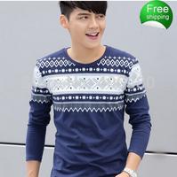 Male autumn long-sleeve T-shirt men's clothing slim clothes teenage 100% print cotton long johns basic shirt