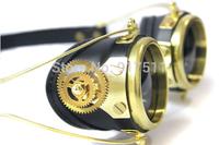 Gold gear steampunk Gothic Ski riding goggles motorcycle Protective oculos motocross goggles Windproof glasses feminino de sol