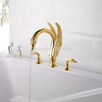 Luxury Dual Handles Deck Mounted Swan Shape Bathroom Basin Faucet Golden Three Holes Bathtub Basin Mixer Taps