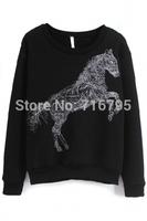 New Women Round Neckline Long Sleeves Go Rampant Horse Pattern Sweatshirt Free Shipping