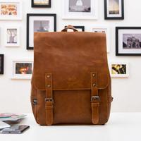 New 2014 Famous Men's Backpack Vintage Pu Leather Kid School Bags Men Travel Bag Large Capacity Mochilas Backpack Bag 28*10*40CM