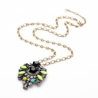 New long vintage colorful gems flower pendant necklace women jewelry free shipping