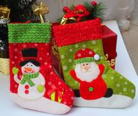 "ZYF-WZ3 (6pcs/lot) Christmas Socks 26cm/10"" Christmas Decoration Hanging socks Santa Claus Snowman Christmas gifts bag"
