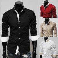 T1114 2014 HOT PROMOTION Autumn New Men shirt Casual Slim Fit stylish Mens dress Shirts Korean Men's Camisa M-XXL Free Shipping
