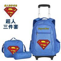 3Bags/Set Superman School Bag for Boys Male Super Man Trolley Bag Set Wheeled Backpack Rolling Travel Luggage Children Satchel