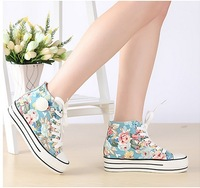 Print pattern canvas shoes female summer breathable high round toe white belt decorative pattern