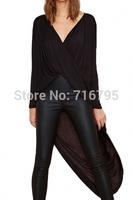 2014 Fashion Sexy Women Black Semi-Sheer Surplice Blouse  Free Shipping
