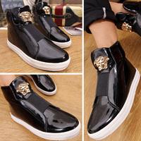 2014 ruslana korshunova gold high shoes leather casual sneakers fashion men shoes free shipping