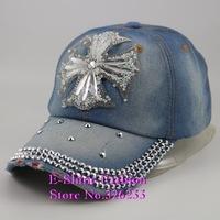 Wholesale High Quality  hip hop beauty baseball cap new bling rhinestone crystal Cross jeans denim snapback hats for women