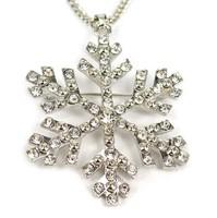 10pcs/lot Frozen Elsa Princess Rhinestone Crystal Snowflake Pendant Necklace Fashion Children Cartoon Jewelry