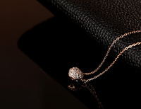 Wholesale Exquisite Stereo Really Heart-shaped Pink Gold Necklace For Women White Gold With Zircon