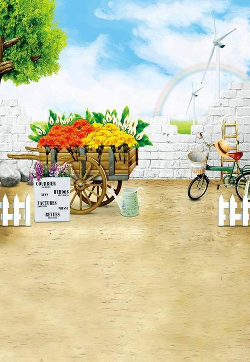 8x12FT Rickshaw Flowers Kettle Bicycle Ladder Brick Rainbow Customize Wedding Photo Background Studio Backdrop Vinyl 8x10 8x15(China (Mainland))