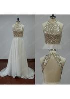 Bling Bling Tulle Halter Long Prom Dresses