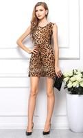Women Casual dress Leopard Print Dress Microfiber Summer Dresses sleeveless free shipping  B19 SV005434