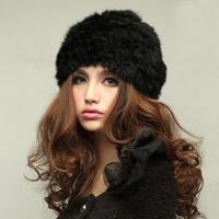 European Style Lady's Genuine Knitted Rabbit Fur Hat headdress Warm Cap