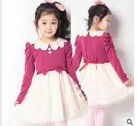 Free shippping 2014 autumn girls long sleeve princess dress children christmas cotton dress kids lace dot clothes t1075