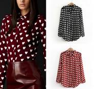 New Arrival 2014 Autumn women Fashion love heart print sweet long-sleeve Chiffon shirts blouse T shirts tops for women