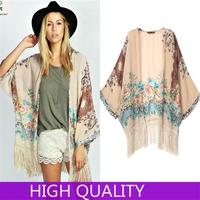 Floral Pattern Printed Tassel Kimono Cardigan 2014 Fashion Women Blouse Shirt Brand Tops Batwing Sleeve Camisa Blusas Femininas