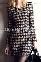 New Longsleeve Winter Women Coffee Houndstooth Pattern Bodycon Dress Vestidos   Free Shipping