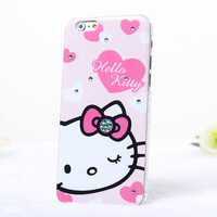 New Luxury Bling Crystal Case For iphone 6 Mobile phone Bag Kitty Case Cover For iphone6 4.7'' Diamond Cartoon Case