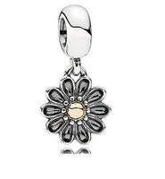 European Style 925 Sterling Silver 14ct Gold Gerbera Flower Pendant Charm Fit  Bracelets & Necklaces