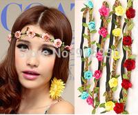 Drop Shipping Hot Sale New Fashion Womens Bohemia Beach Flower Hair Bands Headband Hair Accessory Headwear Free shipping AX028