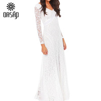 Party Sexy Vestidos Innocent White Lace Double-V Long Sleeves Maxi Dress  Free Shipping