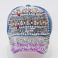 Hot Wholesale cheap new designer gold skull beaded rhinestone denim snapback hats for women fashion hip hop brand baseball cap