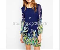 Free shipping !  2014 Girls  Autumn New Arrival Butterfly Print Chiffon Dress ladies fashion dress evening dress