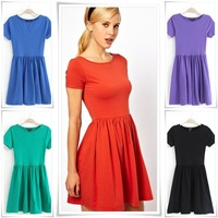 2014 New Fashion lady brief Ruffles short sleeve dress female elegant 5 colors O neck A-line slim party OL casual base dress