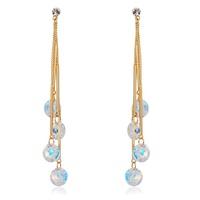 Hot Christmas Gift 18K Yellow Gold Plated Link Chain Bar Charms Plastic Tassel Drop Dangle Earrings Fashion Women Girls Jewelry